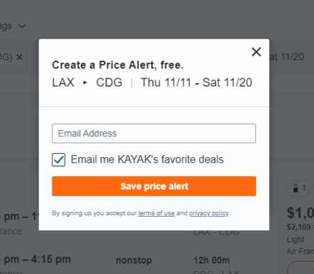 Creating the price alert and receiveing updates by email.