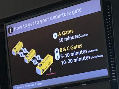 Knowing time needed to get to the next gate